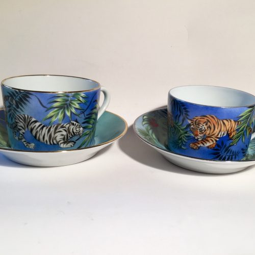 "The cups - head to head ""Jungle"". Limoges porcelain, hand painted, two cup Price 160€"