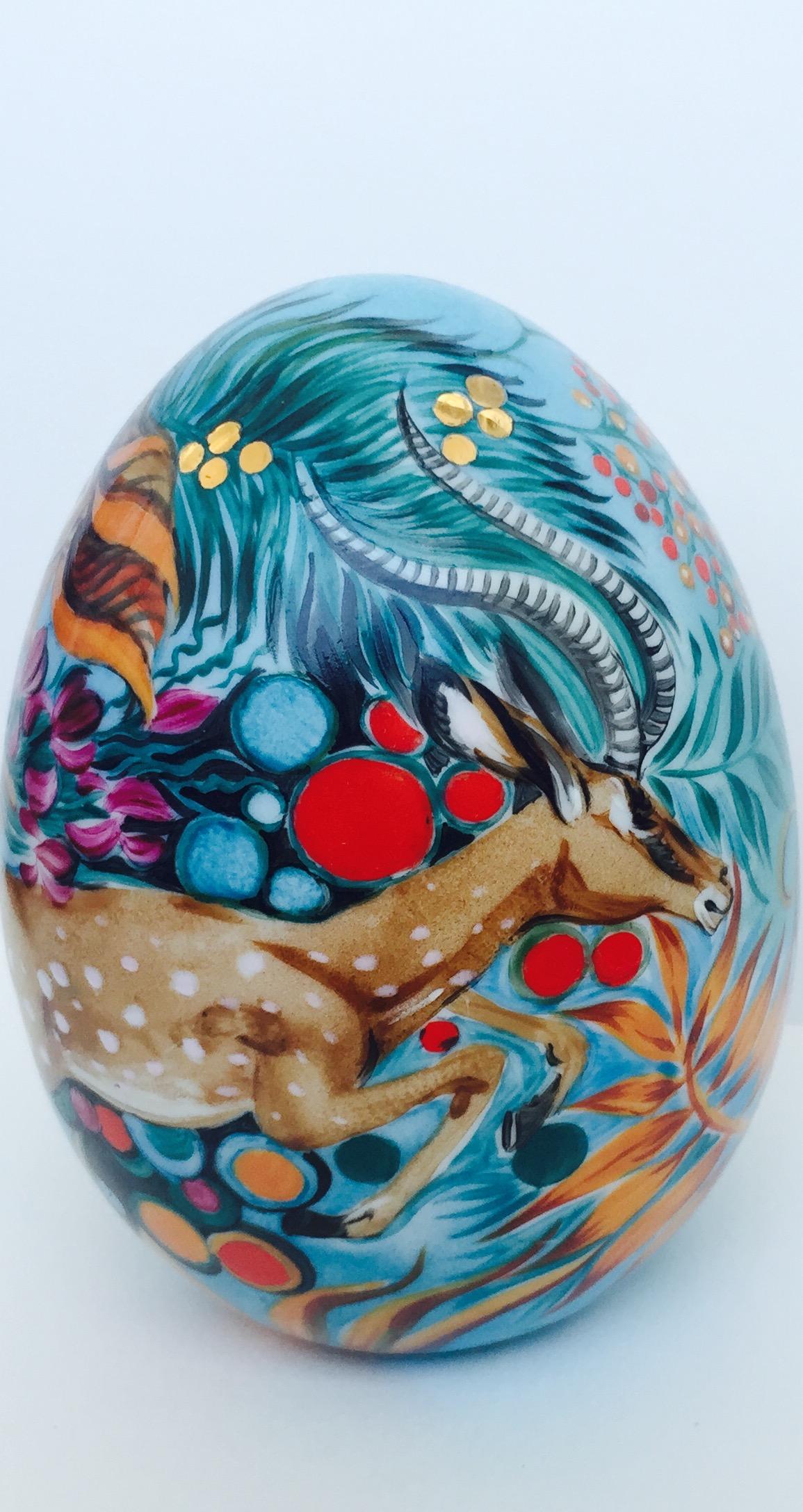 Œuf décoratif de Pâques «Antilope dorée»