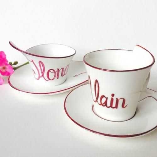 """Tasse à café """" Prénoms"""". Bon cadeau pour couple ou toute la famille. Porcelaine de Limoges. Peint à la main. Prix d'unité 40€."""